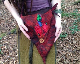 The 'Rose of the Wild' Faerie Felted Bag of Deep Rose Red and Lava Black Hues, Whimsical Pixie, LARP Elf, Fantasy Felt Bag, Festival Wear