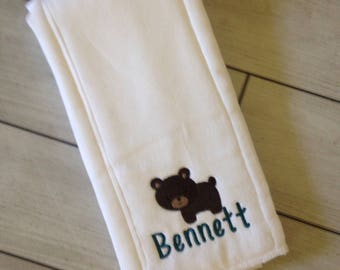 Personalized baby bear burp cloth Embroidered bib and burp cloth set - Monogrammed Baby Gift - Monogrammed Baby Shower