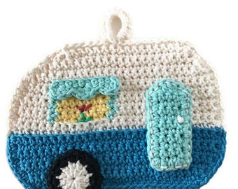 Camper Potholder,RV Pot Holder,Crochet Trivet,Glamping,Travel Trailer, Airstream,Shasta, Kitchen Decor,Housewarming,Shower Gift for Her