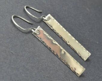 Sterling Silver Bar Earrings, Hammered Earrings, Stick Earrings, Long Dangle Earrings