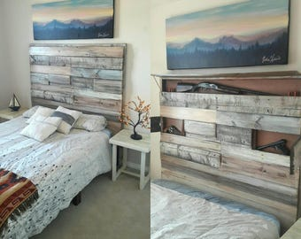 Shabby Chic Secret Gun Bed. Farmhouse Headboard and bedframe. Twin, Full, Queen or King!