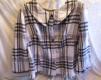 Black & White Plaid, Button Front, Jacket, Size:  Large
