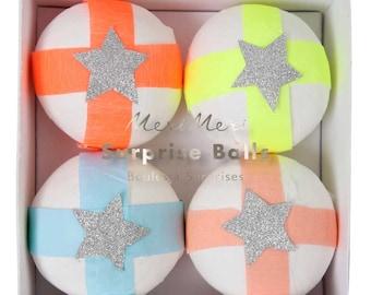 Glitter Star Surprise Balls (set of 4), Meri Meri Birthday Party Favor, Interactive Kids Gift, Silver Glitter and Neon Pastel Jazzy Star