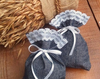 Jean Favor Bag - Cotton Favour Bag - Denim Favor Bag - Wedding Favor - Country Wedding Favors - Western Wedding Favor Bag - Set of 40