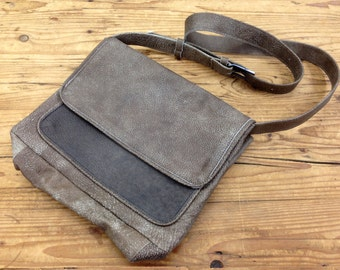 Sale!!! Leather crossbody bag leather Messnger bag Women's Leather satchel cross body bag school bag Distressed taupe and Grey