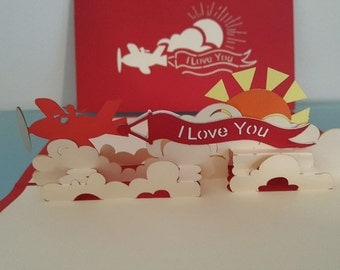 I Love You Plane pop-up card
