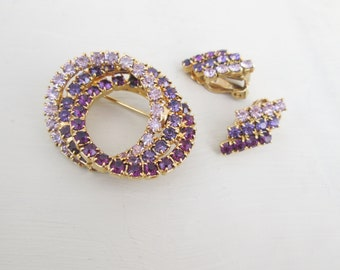 Purple Lavender Rhinestone Circle Brooch Earrings Demi Parure Set