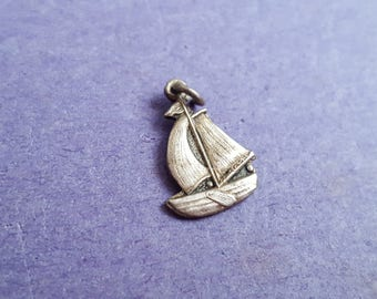 vintage silver Sail Boat / Sail Ship - one sided medallion charm / pendant - 835 silver