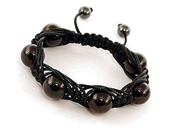 Garnet Bracelet, Shamballa Garnet, Garnet Beaded Bracelet, Gemstone Bracelet Garnet Jewelry Shamballa, 10mm Red Garnet, Energy Bracelet