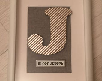 Baby initial keepsake frame masculine new baby christening gift personalised funky letters