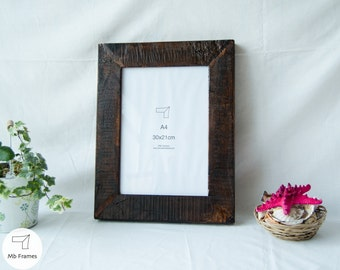 Picture Frames- Standard size- Rustic wood- Reclaimed frames- Rustic wall decor- Photo frames- A4 format- Wall decoration