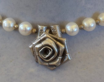 Pretty Sterling Silver Rose and Pearl Necklace with a Beautiful Garnet and Silver Box Clasp