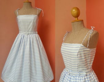 Beach Dress 50s Dress Cotton Dress 1950s Dress Pin Up Dress Summer Dress Womens Sundress Swing Dress Day Dress Blue White Striped Dress Midi