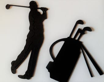 Silhouette Die Cut Golfer and Bag x 10 (5 of each)