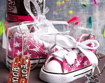 Oh-So-Cute Pink Star Print Baby Sneaker Key Chain - Baby Girl Shower Favor 36-144 Qty  6136