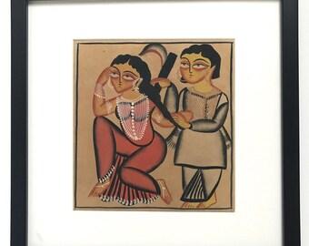 Kalighat Painting on Handmade Paper-6 (Framed)