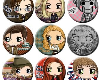 Doctor Who Chibi Pinback Button Set - Tenth Doctor, Eleventh Doctor, Weeping Angel, Cyberman, River Song, Rose, Amy Pond, Rory and more!