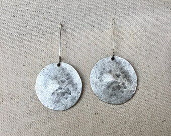 Silver Hammered Disc Earring