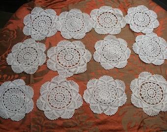 12 vintage lace coasters, crochet doilies