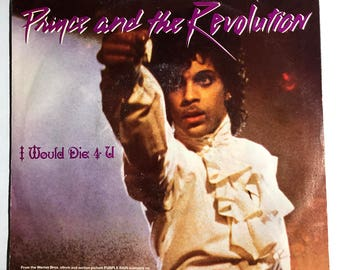 "Prince and the Revolution I Would Die For You vinyl record 45 rpm 7"" picture sleeve 1984 Purple Rain EX"