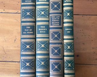 Set of 4 Classic Decorative Leather book, Vintage Book decor, International Collectors Library, Wedding decor