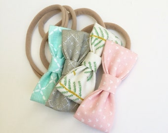 SALE 15% Off. Joy to the World MINI Girls Hair Bows - Set of Four (4) //Girls Bows - Includes All 4 Shown. Newborn - Toddler Bows.