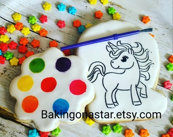 2 gourmet sugar cookies: Unicorn set