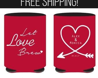 Let Love Brew Wedding Can Coolers - Custom Wedding Can Coolers - Personalized Can Coolers - Wedding Favors- Wedding