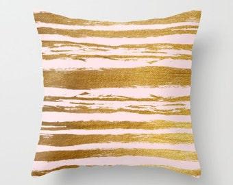 Pink and Gold, Velvet Pillow, Pink Cushion Cover, Gold Pillow, Teen Room Decor, Girls Bedroom Decor, Dorm Pillow, 18x18, 22x22, Pink
