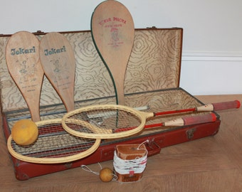 Vintage Ball Game Set, Jokari Rackets, Tennis Racquet, Vintage Racquet Decor, Vintage Games, Tennis Racket, Swing Ball Set, Outdoor Games