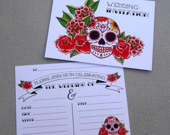 Sugar Skull Wedding Invitation Stationery Dia de los Muertos
