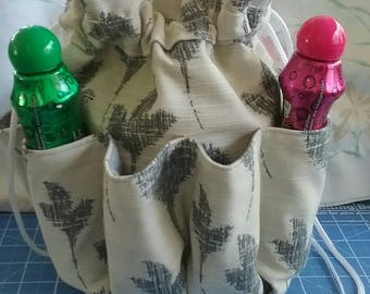 "Bingo bag upholstery fabric Drawstring ivory with leaves 10"" tall with 9 pockets for daubers/good luck bag/gaming bag"