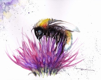 Original Watercolour Bee and Thistle Print by Artist Be Coventry Wildlife Animal Art