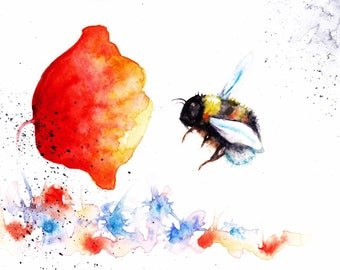 Original Watercolour Poppy and Bee Print by Artist Be Coventry Wildlife Animal Art