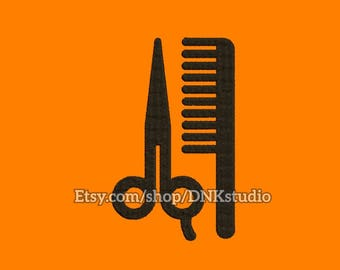 Scissors and Comb Barber Shop Embroidery Design - 6 Sizes - INSTANT DOWNLOAD