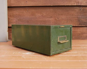 Steelmaster Card Cabinet, Metal Drawer Box, Vintage Green Metal Storage Box, File Box