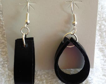 Flat leather earrings  1 1/2 inches in length