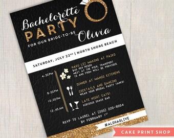 Bachelorette party invitation, white gold bachelorette invite, Hens invite, black & white bachelorette invite, Gastby Bachelorette invite