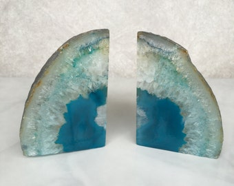 Agate Bookends // teal agate bookends, teal stone bookends, geode bookends, crystal bookends, gifts under 100, bohemian decor, midcentury