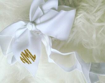 Gold Glitter Monogram - Monogram Baby Headband - Stretchy HeadBand with Bow - Circle Initials - Baby Gift