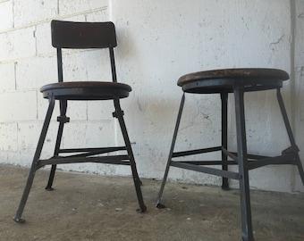 Vintage Factry Industrial shop garage bar Industrial metal kitchen chair desk