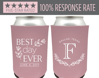 Best Day Ever Can Cooler, Rustic Wedding Cooler, Country Wedding Can Cooler, Wedding Coldy Holdy, Personalized Southern Beer Insulator (29)