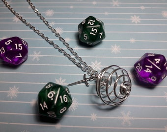 Caged D20 Dice Charm Necklace
