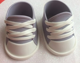 Gray converse baby shoes gum paste fondant for baby shower, birthday, cake topper