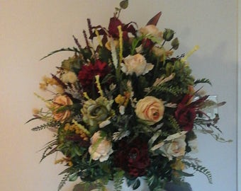 Floral Arrangement, Large Silk Floral Centerpiece , SHIPPING INCLUDED Elegant Luxury Summer Tuscan Floral Design, Formal Traditional Décor