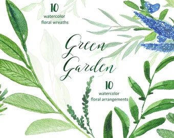 Green garden Wreaths and arrangements. Watercolor clipart  collection. Light green branches, wedding invitation, olives, rosemary