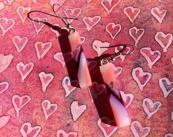 Fused Glass Earrings in Purple and Pink Swirl