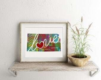 Kansas Love - KA - A Colorful Watercolor Style Wall Art Hanging & State Map Artwork Print - College, Moving, Engagement, and Shower Gift