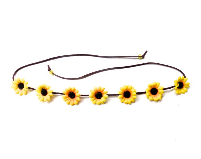 Simple hippie flower headband with yellow sunflowers, Coachella flower crown, floral headband hair accessory for music festivals