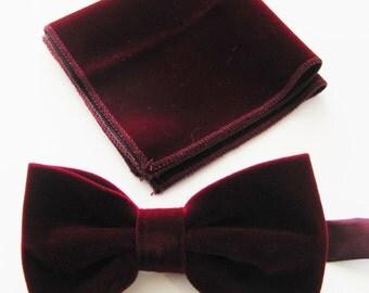 Mens Fancy Burgundy, Wine Velvet Adjustable PreTied Mans Bow Tie With Matching Pocket Square